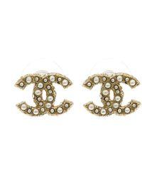 Chanel - Cc Faux Pearl Crystal Tone Stud Earrings - Lyst