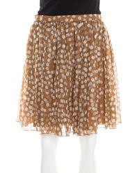 Dior - Brown Polka Dotted Silk Chiffon Gathered Skirt M - Lyst