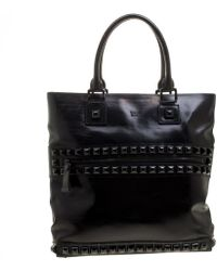 Burberry - Glazed Leather Studded Tote - Lyst