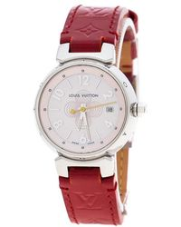 Louis Vuitton - Pink Mother Of Pearl Stainless Steel Tambour Q1216 Women's Wristwatch 28 Mm - Lyst