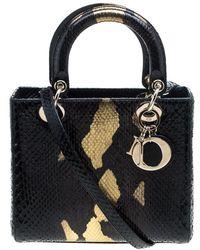 Dior - /gold Python Medium Lady Tote - Lyst