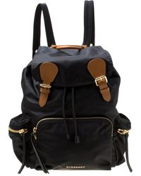 Burberry - Black Nylon And Leather Rucksack Backpack - Lyst