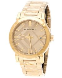 Burberry - Gold Check Stamped Gold Plated Stainless Steel The City Bu9038 Unisex Wristwatch 38 Mm - Lyst