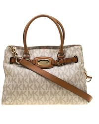 60702082fb04de MICHAEL Michael Kors - Cream/brown Coated Canvas And Leather East West Hamilton  Tote -