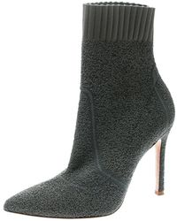 Gianvito Rossi - Grey Knit Fiona Pointed Toe Ankle Boots Size 36 - Lyst