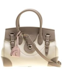 Ralph Lauren - Taupe/off White Leather Ricky Top Handle Bag - Lyst