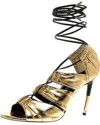 7223a54e1 Tom Ford - Metallic Gold Leather Stardust Lace Up Cage Sandals Size 37.5 -  Lyst