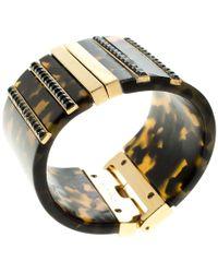 Etro - Plexiglas Gold Tone Wide Cuff Bracelet 17cm - Lyst