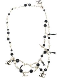 Chanel - Cc Faux Pearl Bead Gold Tone Charm Belt / Necklace - Lyst