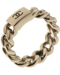 Chanel - Cc Logo Tone Chain Ring - Lyst