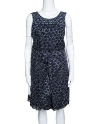 Chanel - Camelia Printed Silk Belted Romper M - Lyst