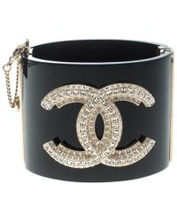 Chanel - Cc Crystal Studded Resin Hinged Wide Cuff Bracelet - Lyst