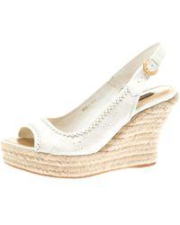 361efe04dfa1 Louis Vuitton - White Denim Monogram And Patent Leather Espadrilles Wedge  Slingback Sandals Size 38 -