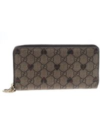 Gucci - GG Supreme Canvas Zip Around Wallet - Lyst