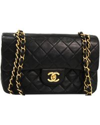 Chanel - Black Quilted Leather Small Vintage Classic Double Flap Bag - Lyst