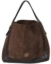 Carolina Herrera - Two Tone Leather/suede Shoulder Bag - Lyst