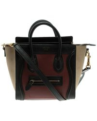 Céline - Tri Colour Leather And Suede Nano Luggage Tote - Lyst