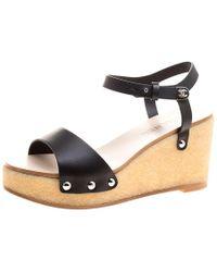 Chanel - Leather Ankle Strap Platform Wedge Sandals - Lyst