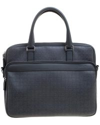 Ferragamo - Gray Embossed Leather Laptop Bag - Lyst