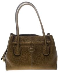 Tod's - Dark Gold Leather D Bag Media Tote - Lyst
