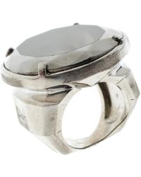 Dior - Oval Crystal Silver Tone Oversized Ring Size 57 - Lyst