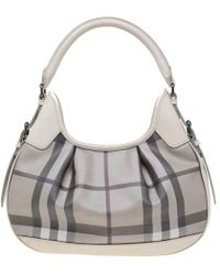 Lyst - Burberry Medium Susanna Mega Check Jute and Cotton Bucket Bag ... 83bdbf37bd730