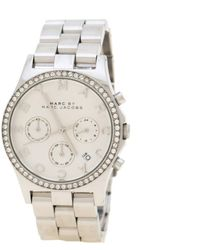 Marc By Marc Jacobs Silver Stainless Steel Crystal Henry Mbm3104 Women's Wristwatch 39 Mm - Metallic