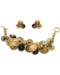 CH by Carolina Herrera - Enamel Tone Button Detail Charm Toggle Bracelet & Stud Earring Set - Lyst