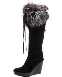 Dior - Cannage Suede Fox Fur Trim Knee High Wedge Boots - Lyst