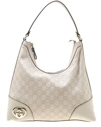 be165e116 Gucci - Off White Ssima Leather Lovely Heart Shaped Interlocking G Hobo -  Lyst