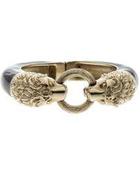 Chanel - Lion Head Enamel Gold Tone Magnetic Cuff Bracelet - Lyst