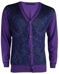 Etro - Purple Paisley Printed Button Front Cardigan 2xl - Lyst