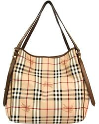 6015147b99e5 Burberry - Brown Haymarket Check Pvc And Leather Canterbury Tote - Lyst