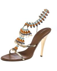 27f637e92b9b Giuseppe Zanotti - Gold Leather And Enamel Embellished Ankle Strap Sandals  - Lyst