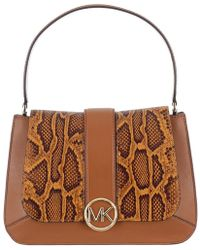 MICHAEL Michael Kors - Snake Embossed And Leather Lillie Top Handle Shoulder Bag - Lyst