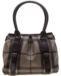 Burberry - Brown Smoked Check Pvc And Leather Lowry Tote - Lyst