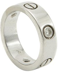 Cartier Love 3 Diamond 18k White Gold Ring Size 50 - Metallic