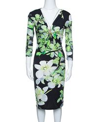 Roberto Cavalli - Floral Printed Knit Long Sleeve Brooch Detail Dress M - Lyst