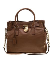 04967fc0363 Michael Kors Hamilton Medium Logo Satchel in Brown - Lyst