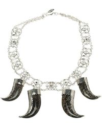 Roberto Cavalli - Marble Teeth Crystal Tone Necklace - Lyst