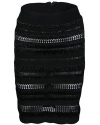 Hervé Léger - Embellished Perforated Pencil Skirt Xs - Lyst