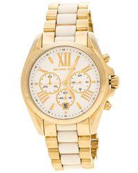 Michael Kors - Silver White Yellow Gold Plated Steel Ceramic Bradshaw Mk5743 Women's Wristwatch 43 Mm - Lyst