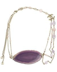 Chanel - Cc Blue And White Banded Agate Multigem Bead Necklace - Lyst