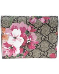 Gucci - /pink GG Supreme Canvas Blooms Card Case - Lyst