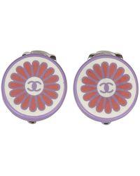 Chanel - Cc Flower Pvc Round Clip On Earrings - Lyst