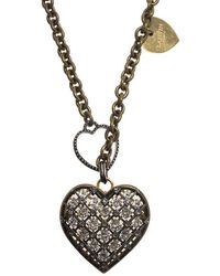 Lanvin - Crystal Mira Heart Pendant Long Necklace - Lyst