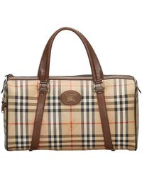 Burberry Brown Haymarket Check Coated Canvas Boston Bag