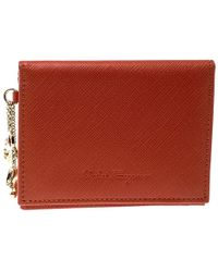 Ferragamo - Leather Card Holder With Charm - Lyst