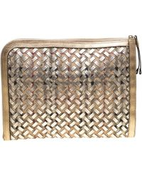 Burberry Gold/beige Haymarket Check Pvc And Leather Document Case - Metallic