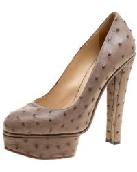 bc9575fae45 Charlotte Olympia - Taupe Ostrich Leather Greta Platform Court Shoes - Lyst